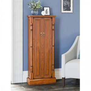 La Reine Wooden DVD Storage Cabinet In Light Mahogany