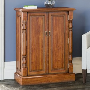 La Reine Wooden Shoe Storage Cabinet In Light Mahogany