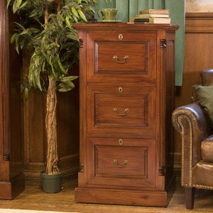 La Roque Wooden 3 Drawers Filing Cabinet In Mahogany