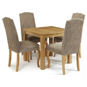 Lambeth Square Flip-Top Dining Table In Oak With 4 Bark Fabric Kensington Chairs