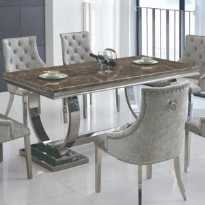 Langa Marble Dining Table In Lacquer With Stainless Steel Base