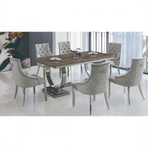 Langa Natural Stone Marble Dining Set With 6 Fabric Chairs