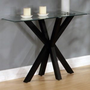 Langley Glass Console Table With Black High Gloss Legs