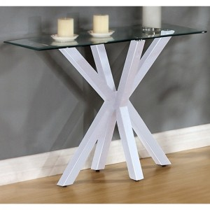Langley Glass Console Table With White High Gloss Legs