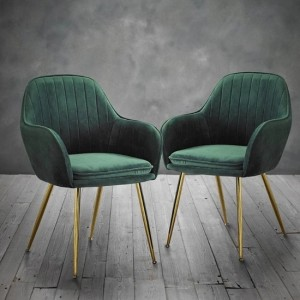 Lara Forest Green Velvet Dining Chairs In Pair With Gold Legs