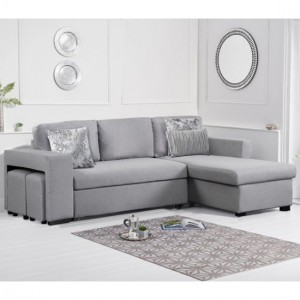 Lara Linen Fabric Upholstered Reversible Chaise Sofa Bed In Grey