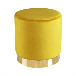 Lara Ochre Yellow Velvet Pouffe With Golden Metal Base