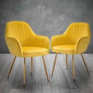 Lara Yellow Velvet Dining Chairs In Pair With Gold Legs