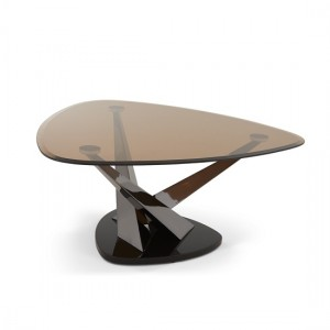 Larissa Coffee Table In Smoked Glass Top And Black Nickel Base