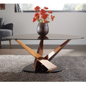 Larissa Coffee Table In Smoked Glass Top And Rose Gold Base