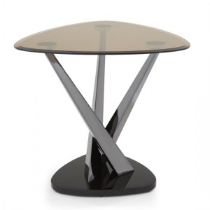 Larissa Lamp Table In Smoked Glass Top And Black Nickel Base