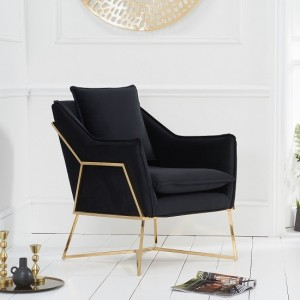 Larna Black Velvet Bedroom Chair With Gold Metal Legs
