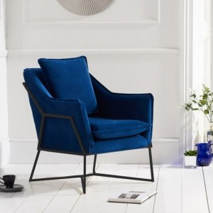 Larna Blue Velvet Accent Chair With Black Metal Legs
