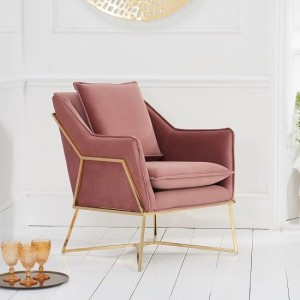Larna Blush Velvet Bedroom Chair With Gold Metal Legs