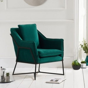 Larna Green Velvet Accent Chair With Black Metal Legs