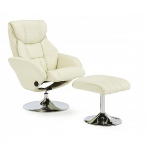 Larvik Leather Swivel Recliner Chair In Cream