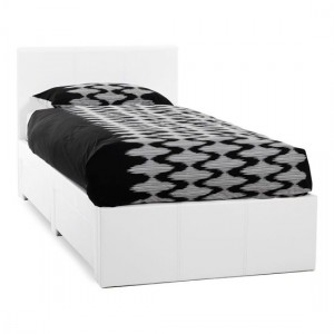 Latino Faux Leather Single Bed In White