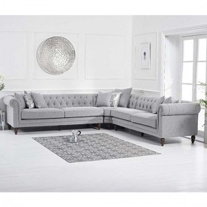Lauren Linen Upholstered Corner Sofa In Grey