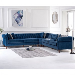 Lauren Velvet Upholstered Corner Sofa In Blue
