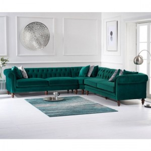 Lauren Velvet Upholstered Corner Sofa In Green