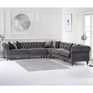 Lauren Velvet Upholstered Corner Sofa In Grey