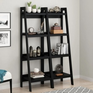 Lawrence 4 Shelf Ladder Black Wooden Bookcase In Pair