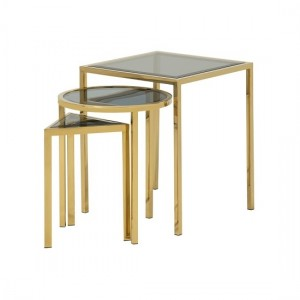 Layla Smoked Glass Nest Of Tables In Gold Stainless Steel Legs