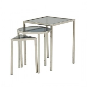 Layla Smoked Glass Nest Of Tables In Silver Stainless Steel Legs