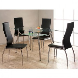 Lazio Clear Glass Dining Set With 4 PU Black Chairs