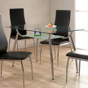 Lazio Clear Glass Dining Table With Chrome Metal Legs