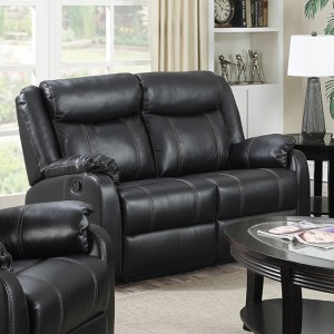 Leeds LeatherLux And PU Recliner 2 Seater Sofa In Gun Metal