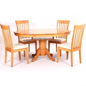 Leicester Extending Wooden Dining Set In Light Oak With 4 Chairs