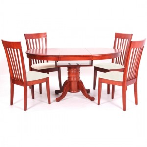 Leicester Extending Wooden Dining Set In Mahogany With 4 Chairs