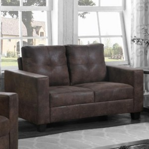 Lena Antique Fabric 2 Seater Sofa In Brown