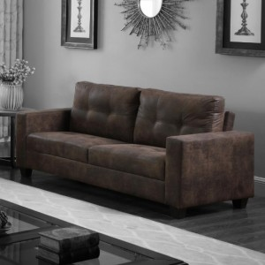 Lena Antique Fabric 3 Seater Sofa In Brown