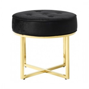 Lena Black Velvet Stool With Polished Golden Base