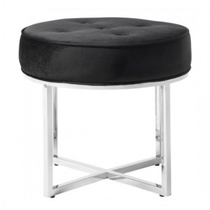 Lena Black Velvet Stool With Polished Stainless Steel Base