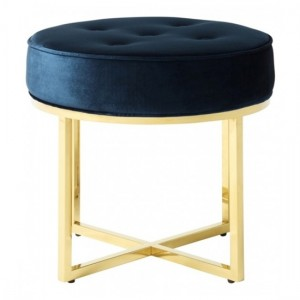 Lena Blue Velvet Stool With Polished Golden Base