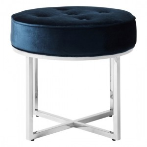 Lena Blue Velvet Stool With Polished Stainless Steel Base