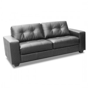 Lena Bonded Leather And PVC 2 Seater Sofa In Black