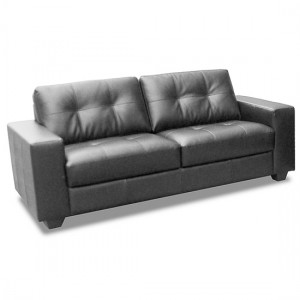 Lena Bonded Leather And PVC 3 Seater Sofa In Black