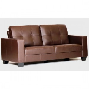 Lena Bonded Leather And PVC 3 Seater Sofa In Brown