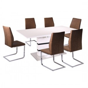 Leona Extending Dining Set In White High Gloss With 6 PU Brown Chairs