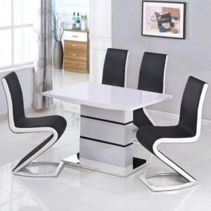 Leona Wooden Dining Table In White High Gloss With 4 Aldridge Chairs