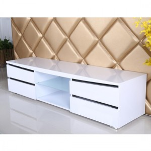 Leona Wooden TV Stand In White And Black High Gloss