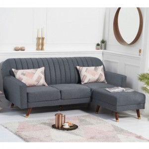 Leslie Linen Fabric Upholstered Sofa Bed In Grey