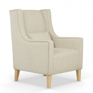 Leven Cream Fabric Armchair With Storage Footsool