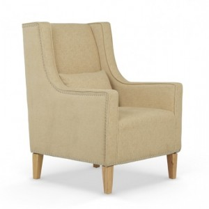 Leven Oatmeal Fabric Armchair With Storage Footsool