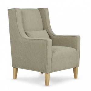 Leven Sage Fabric Armchair With Storage Footsool