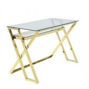 Levi Clear Glass Computer Desk In Gold Strainlees Steel Frame